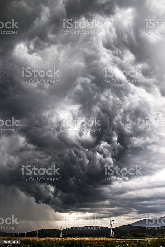 dramatic gray clouds stock photo