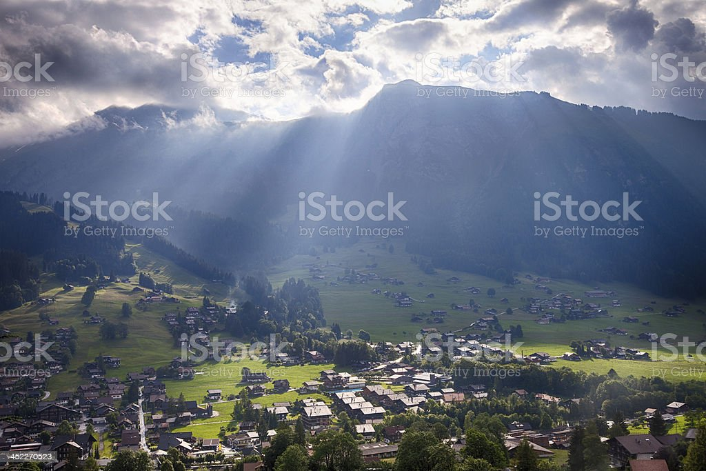 Dramatic HDR Landscape, Swiss Alps stock photo