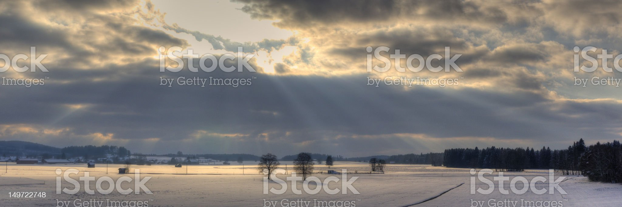 Dramatic HDR sky over Allg?u in Germany Panorama royalty-free stock photo