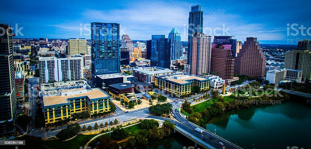 Dramatic High Contrast Aerial Over Austin Texas Skyline stock photo
