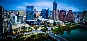 Dramatic High Contrast Aerial Over Austin Texas Skyline