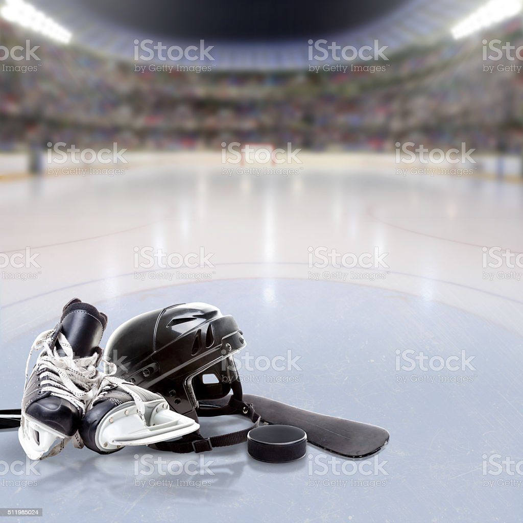 Dramatic Hockey Arena With Equipment on Ice and Copy Space stock photo