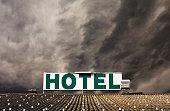 Dramatic hotel sign