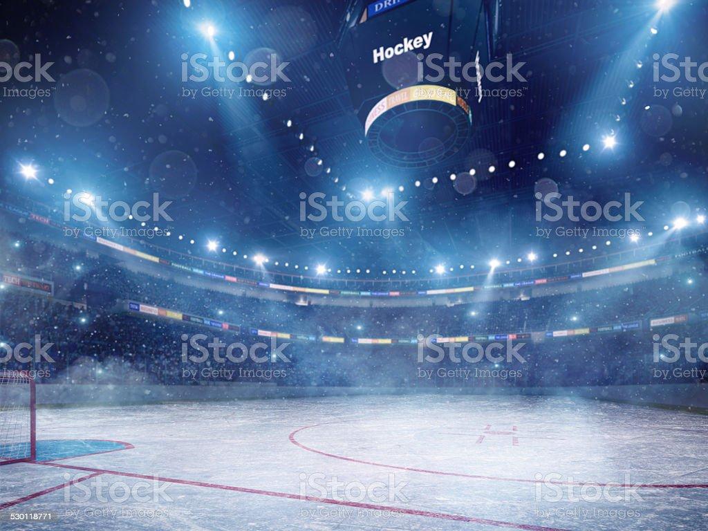 Dramatic ice hockey arena stock photo