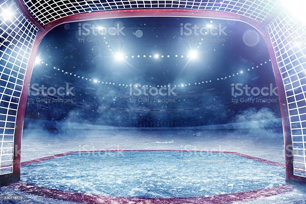 Dramatic ice hockey arena stock photo