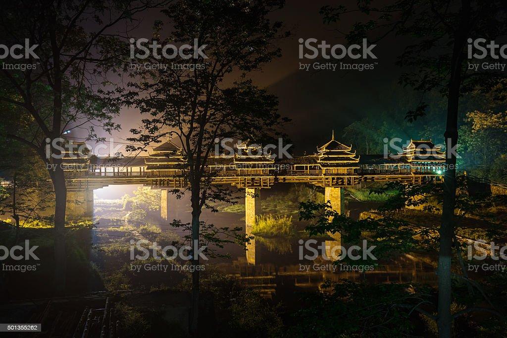 Dramatic Illuminated Chengyang Bridge at Night stock photo