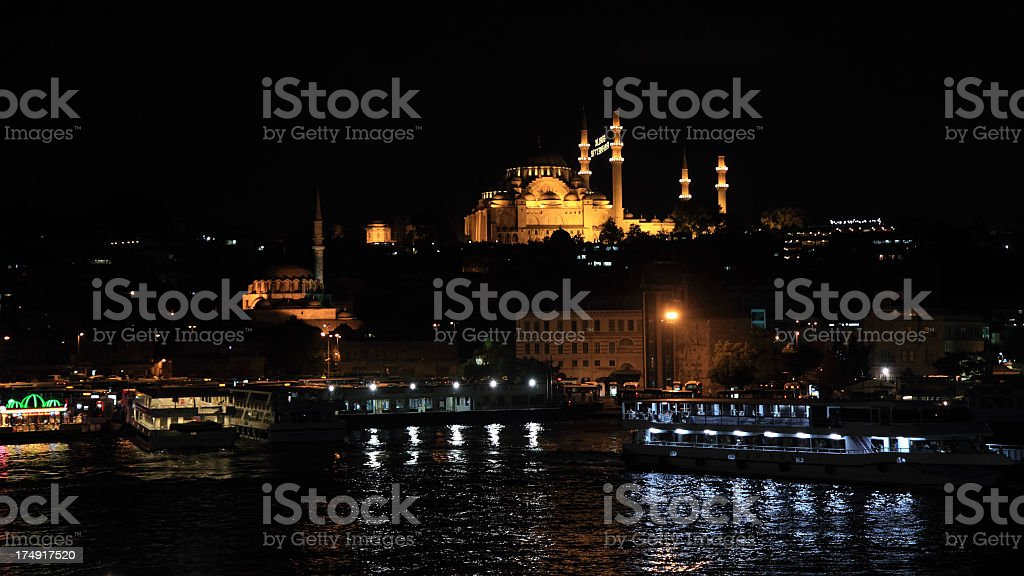 Dramatic Instanbul by Night royalty-free stock photo