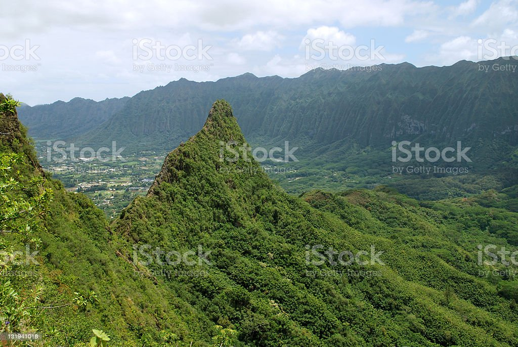 Dramatic Koolau Mountain Range Peak in Oahu royalty-free stock photo