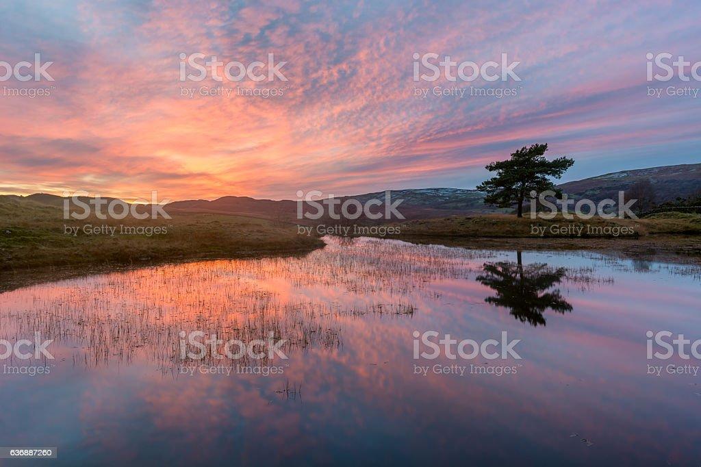 Dramatic Lake District Sunset. stock photo