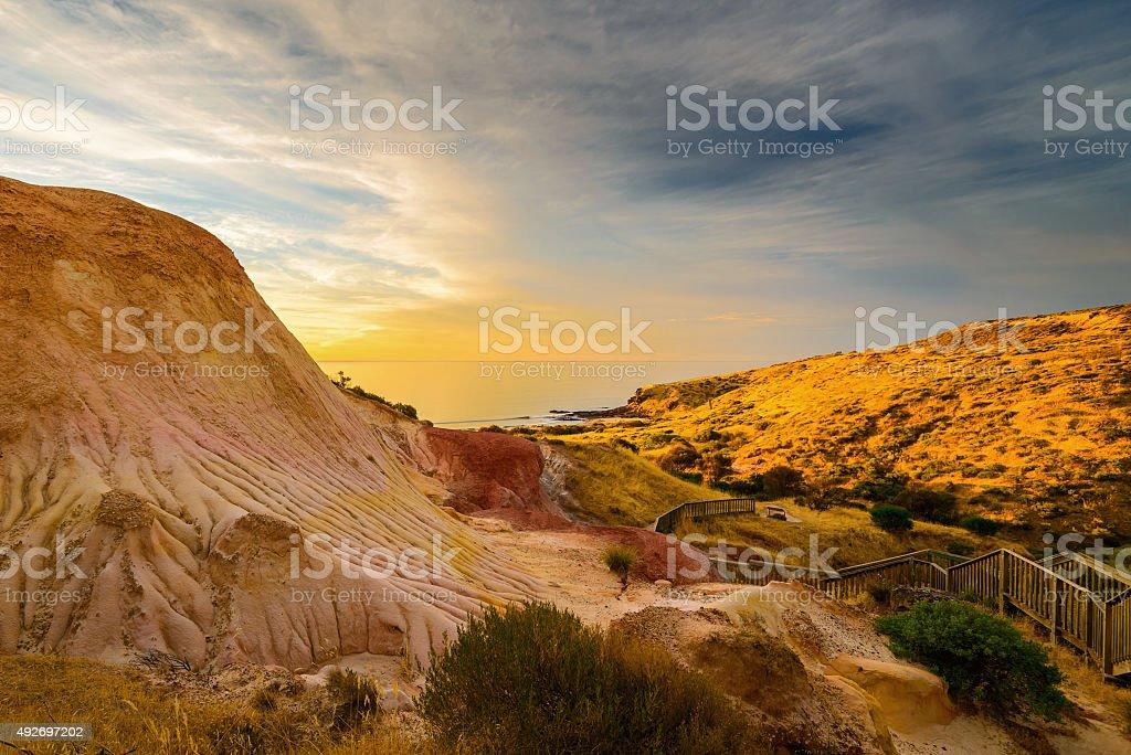 Dramatic landscape at sunset stock photo