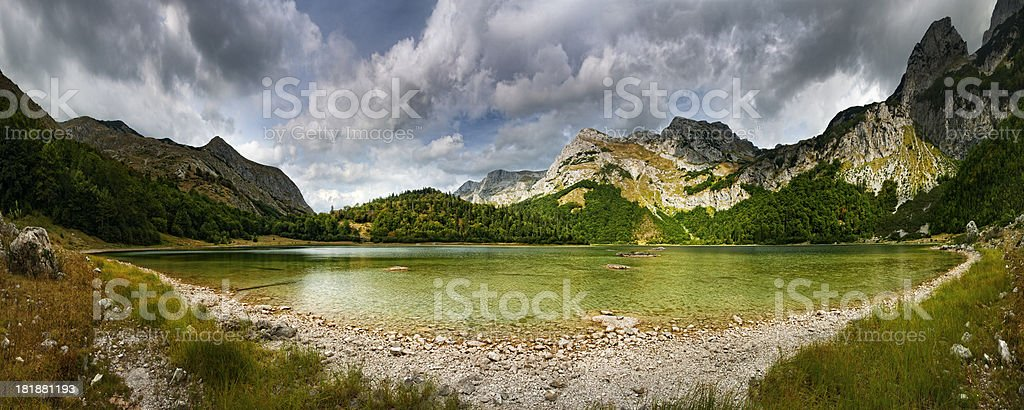 Dramatic landscape in wild mountain (panorama) stock photo