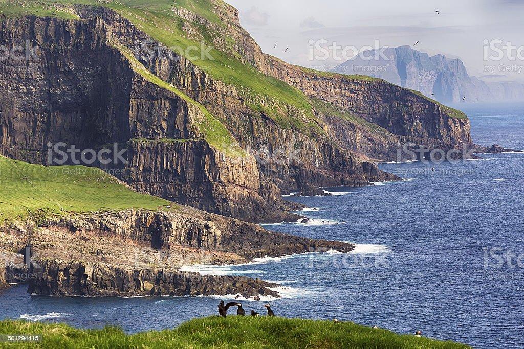 Dramatic landscape on Faroe islands. stock photo