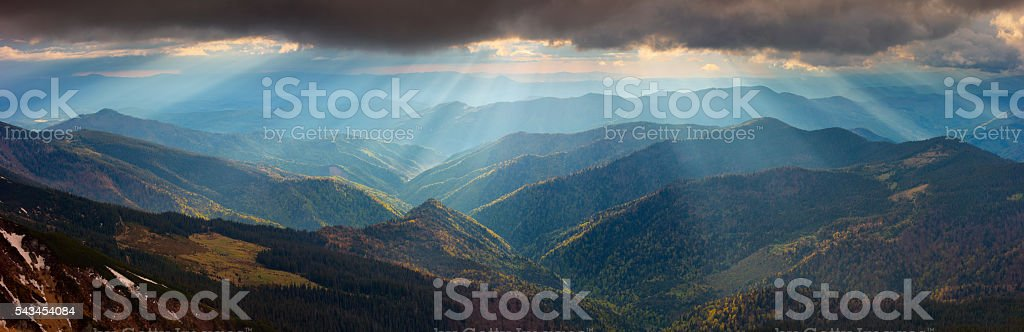 dramatic light in the Carpathian Mountains, early spring stock photo