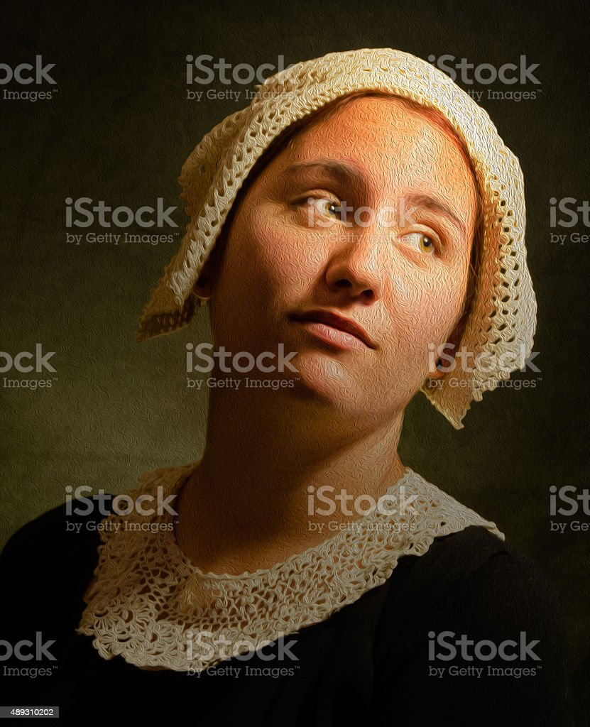 Dramatic lighting style portrait of a girl. stock photo