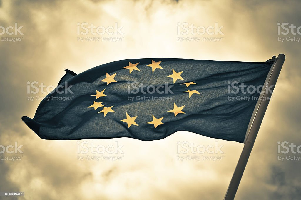 Dramatic Mood for European Flag royalty-free stock photo