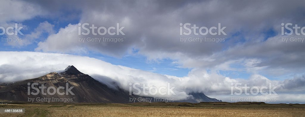 Dramatic mountain panorama in the south of Iceland stock photo