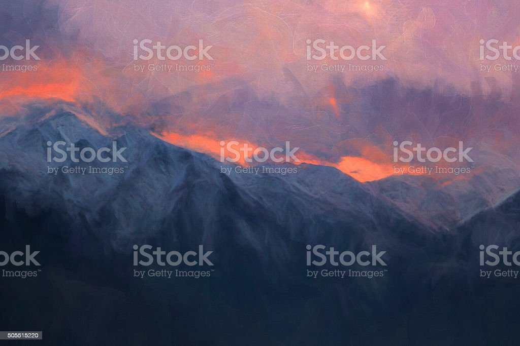 Dramatic mountains in the evening, digital painting illustration stock photo