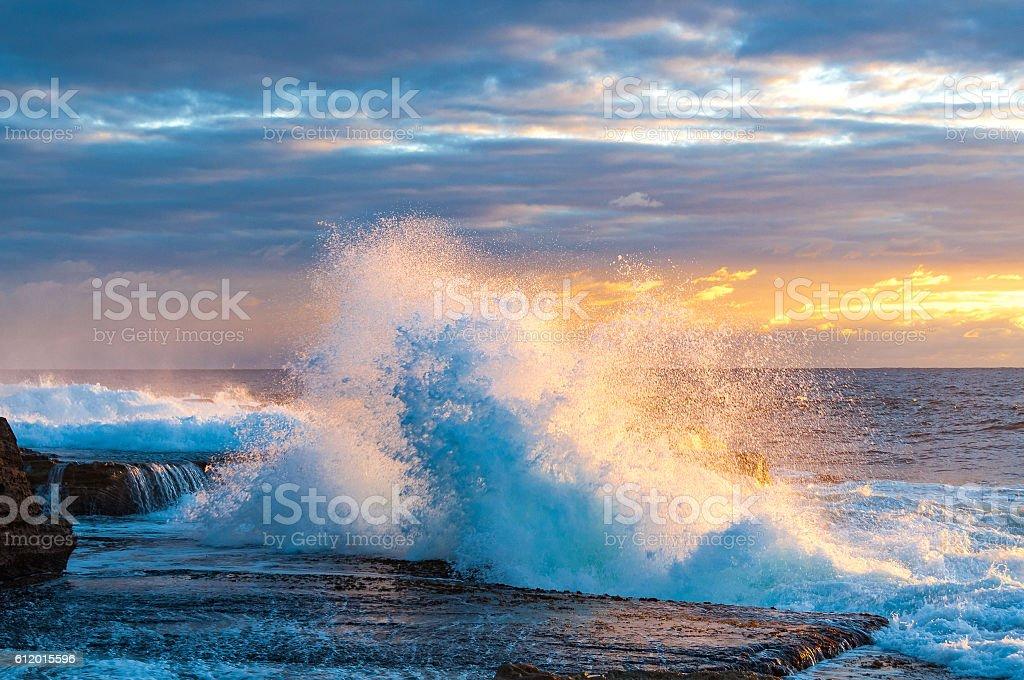 Dramatic ocean seascape on sunrise stock photo