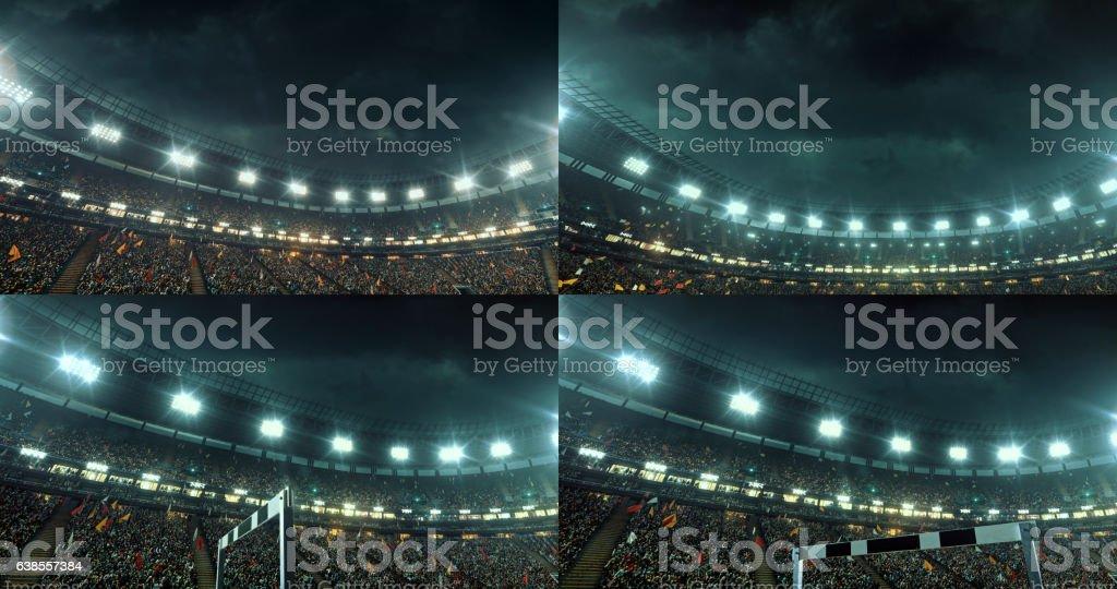 Dramatic olympic stadium full of spectators stock photo