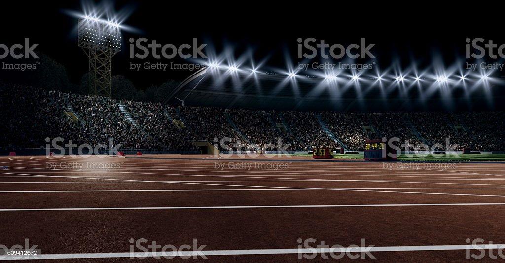 Dramatic olympic stadium with running tracks stock photo