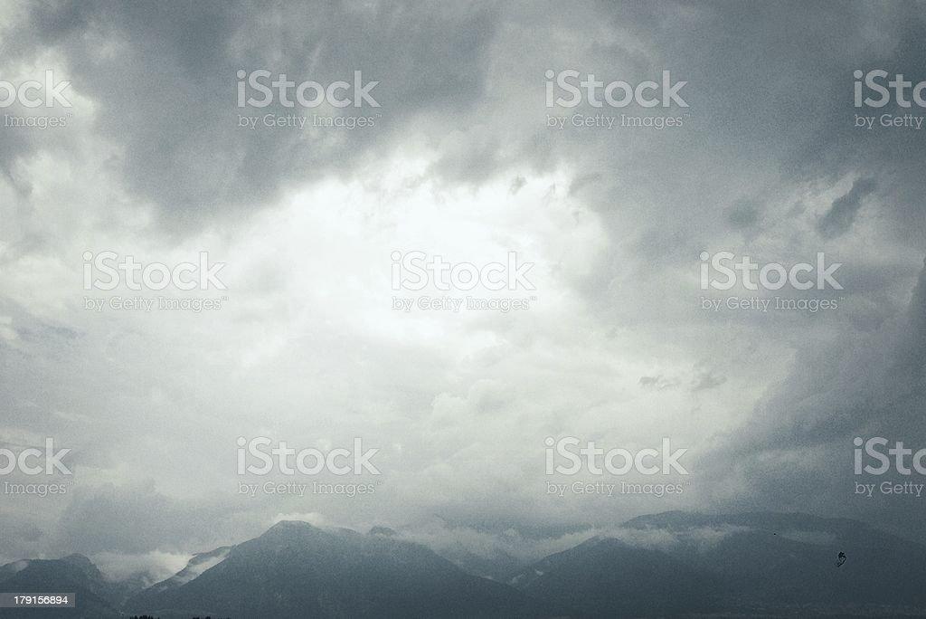Dramatic ominous sky: dark gray storm clouds royalty-free stock photo