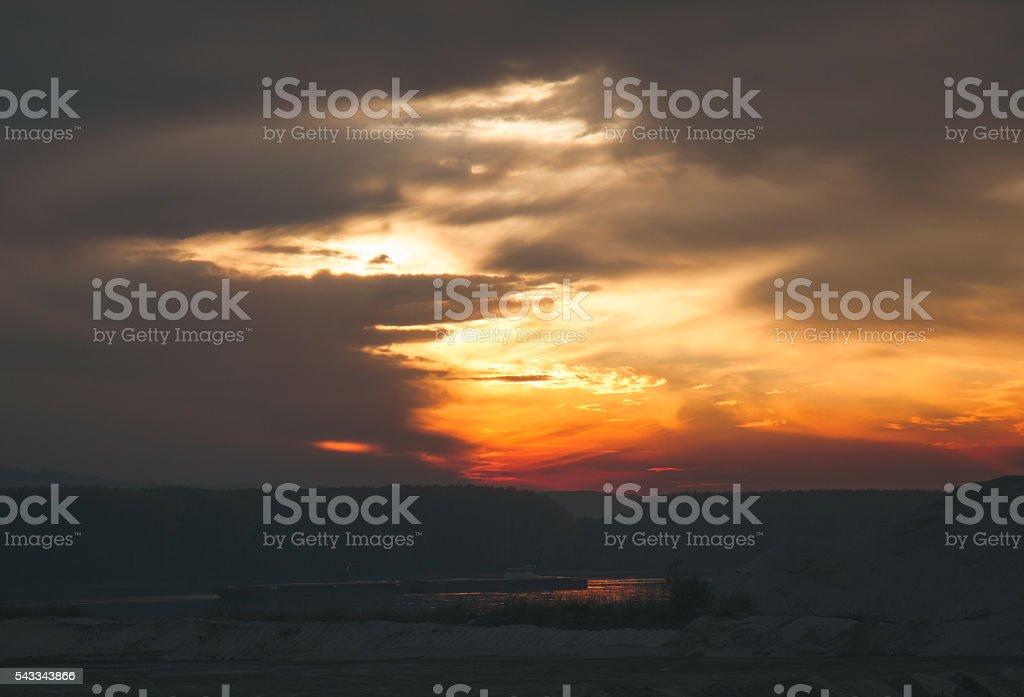 Dramatic orange sunset over river of Daunbe stock photo