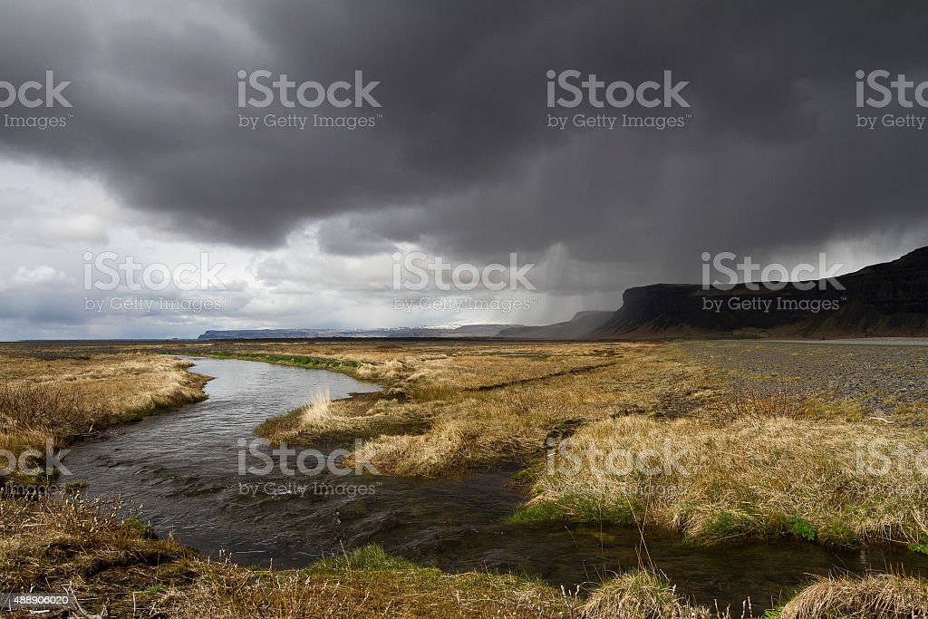 Dramatic panorama of a river in the South of Iceland stock photo