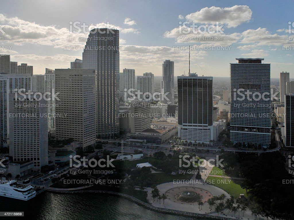 Dramatic Panorama of Downtown Miami from the air stock photo