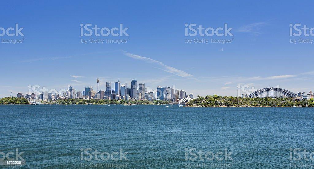Dramatic panoramic photo Sydney harbor stock photo
