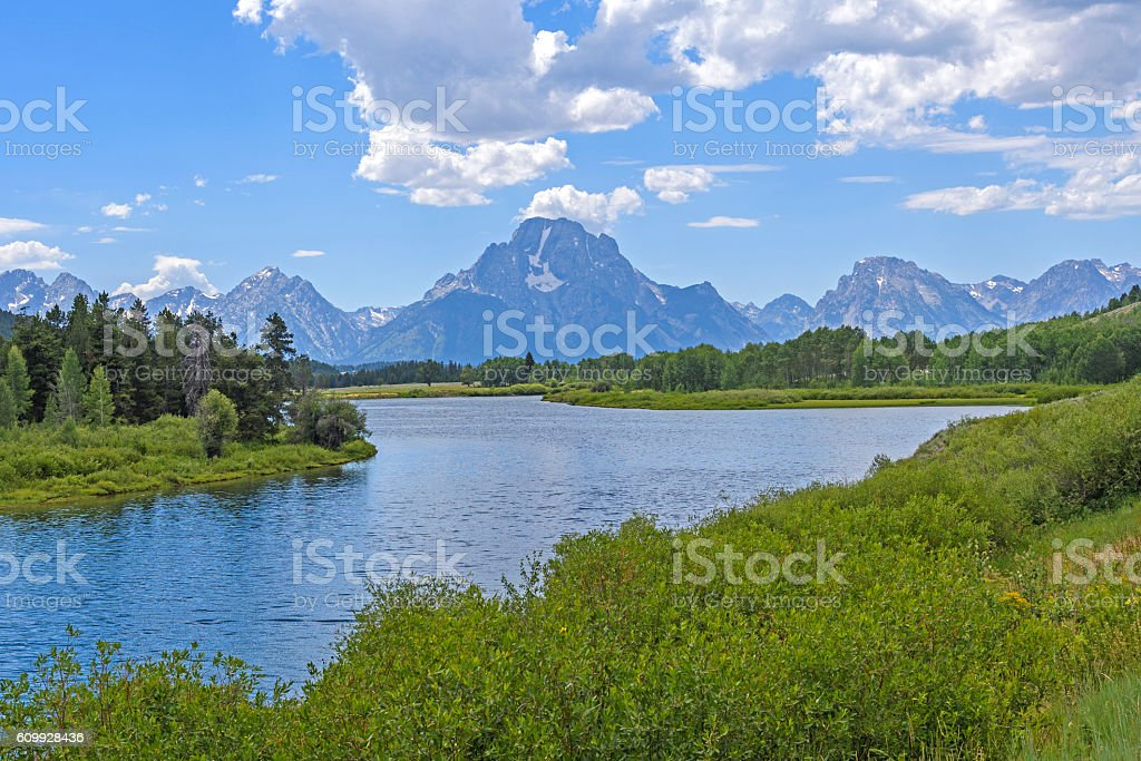 Dramatic Peak at a River Bend stock photo