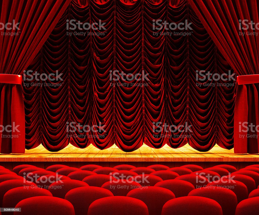 Dramatic performance and drama show concept, theatre auditorium stock photo