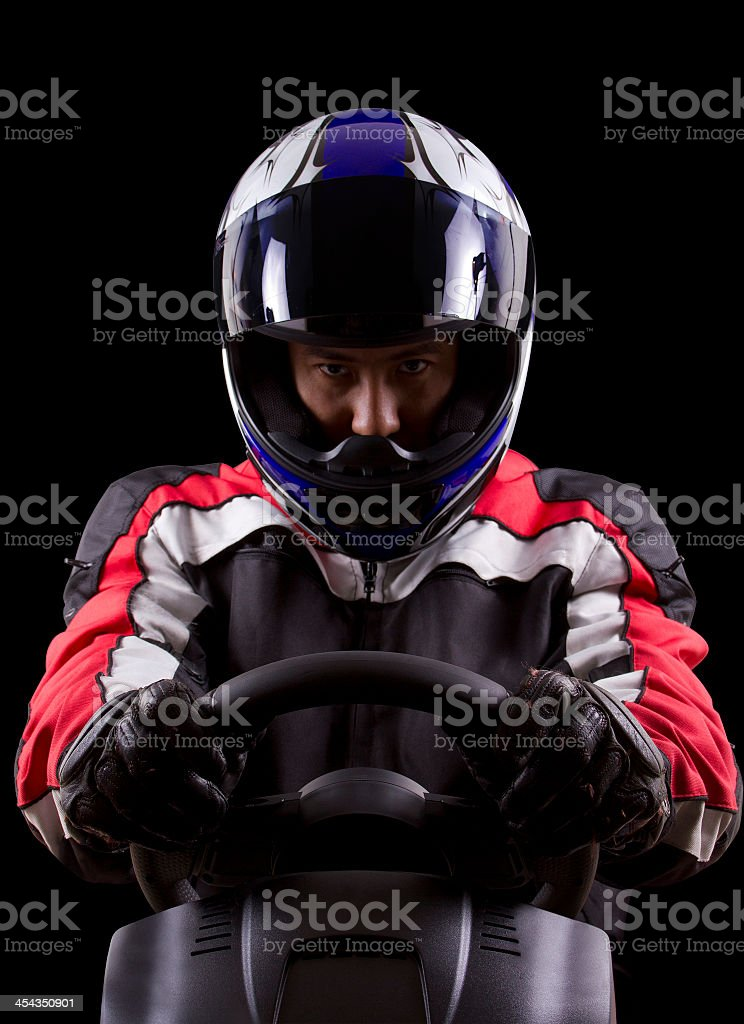 Dramatic portrait of a race car driver stock photo
