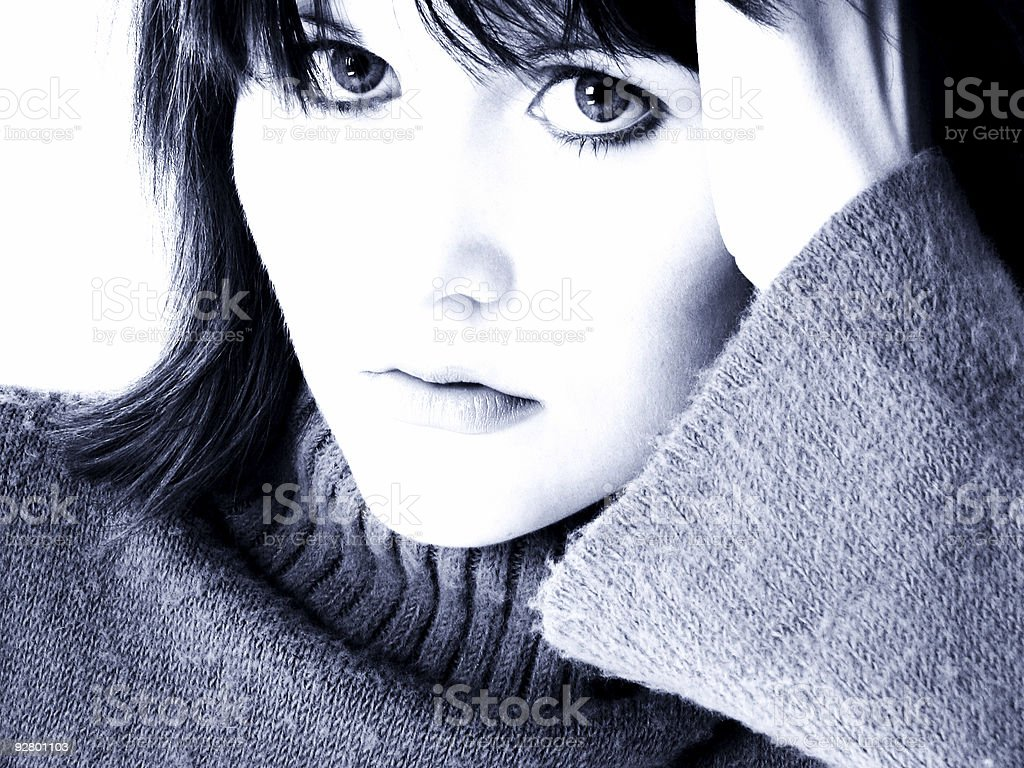 Dramatic Portrait of Teen Girl in Blue Tones royalty-free stock photo