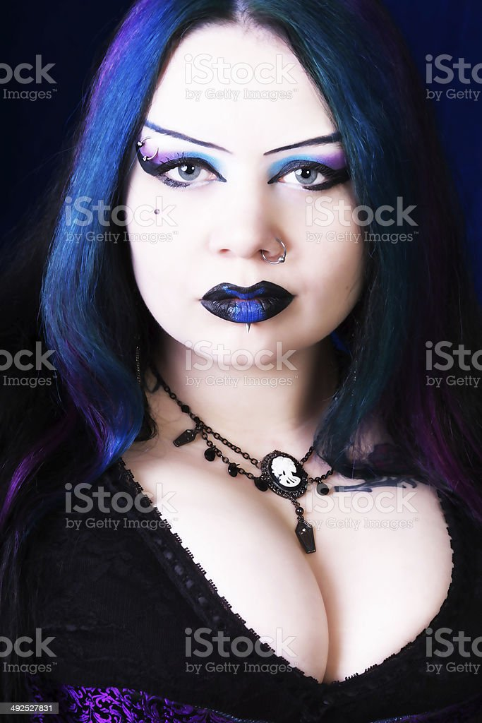 Dramatic portrait of Vampire, front view. stock photo