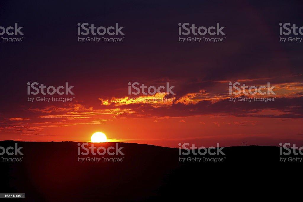印象的なレッドの夕日 ロイヤリティフリーストックフォト