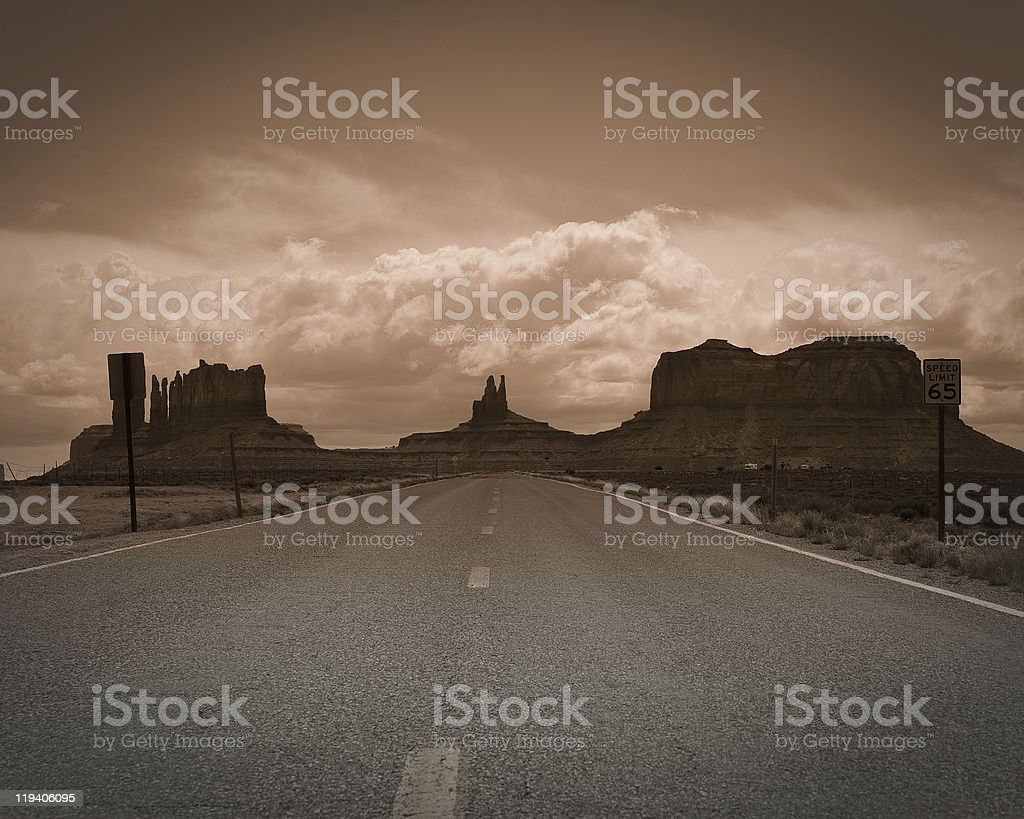 Dramatic road to Monument Valley royalty-free stock photo