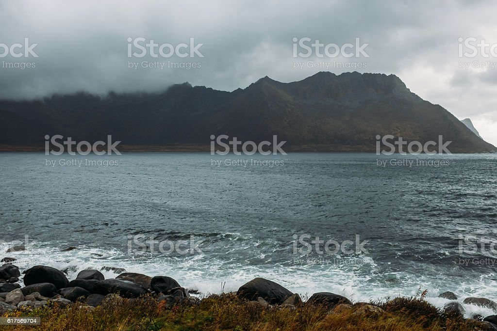 Dramatic scene And Stormy Weather. Lofoten Islands, Norway, Europe stock photo