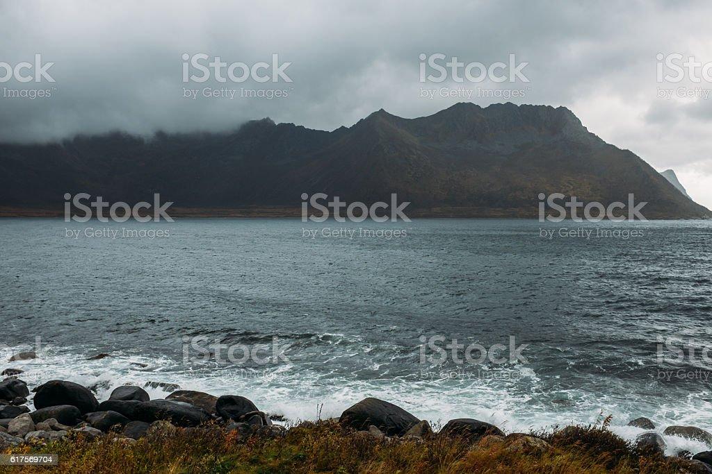 Dramatic scene And Stormy Weather. Lofoten Islands, Norway, Europe stock photo