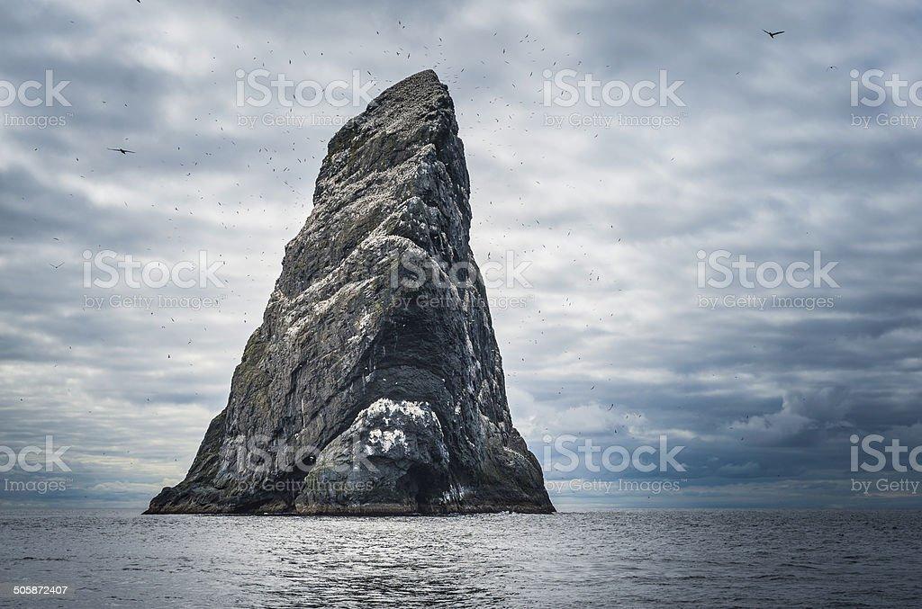 Dramatic sea stack remote seabird colony St Kilda Hebrides Scotland stock photo