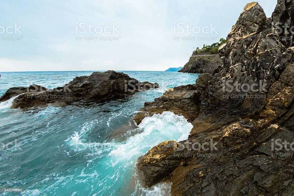 Dramatic Seacoast in Liguria stock photo