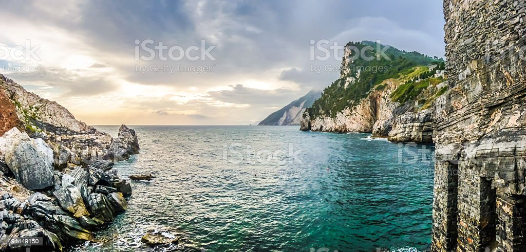 Dramatic seascape from church of St Peter, Porto Venere, Italy stock photo