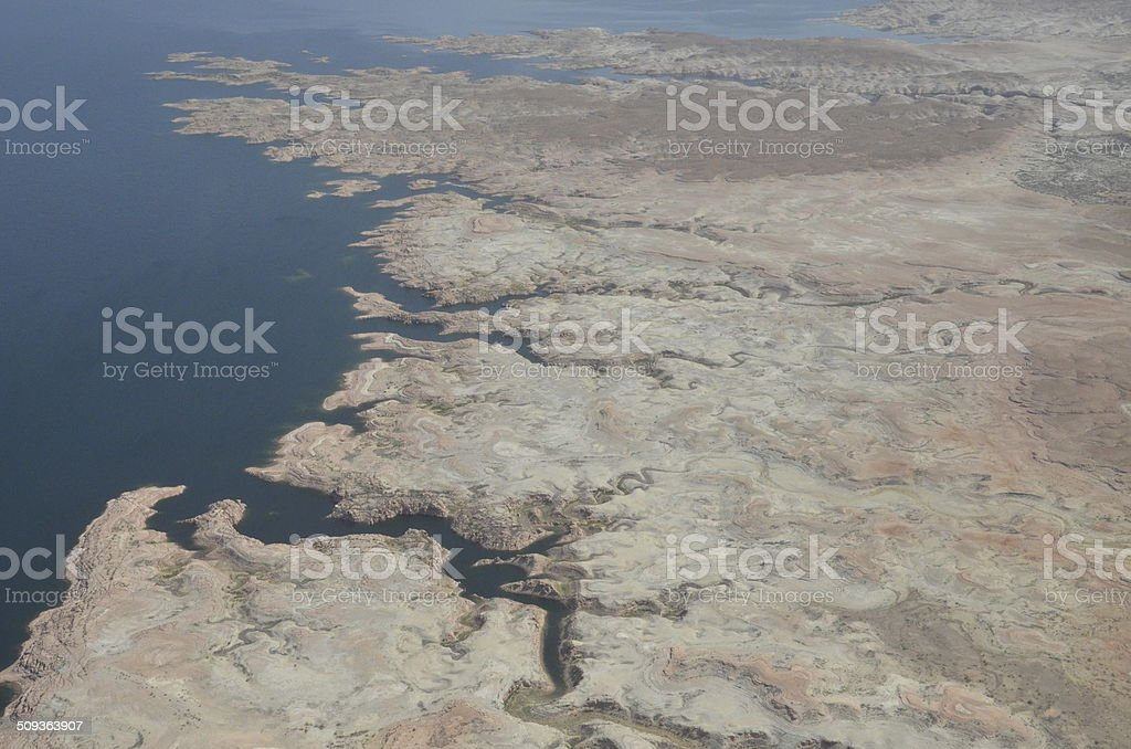 Dramatic shoreline on Lake Mead stock photo