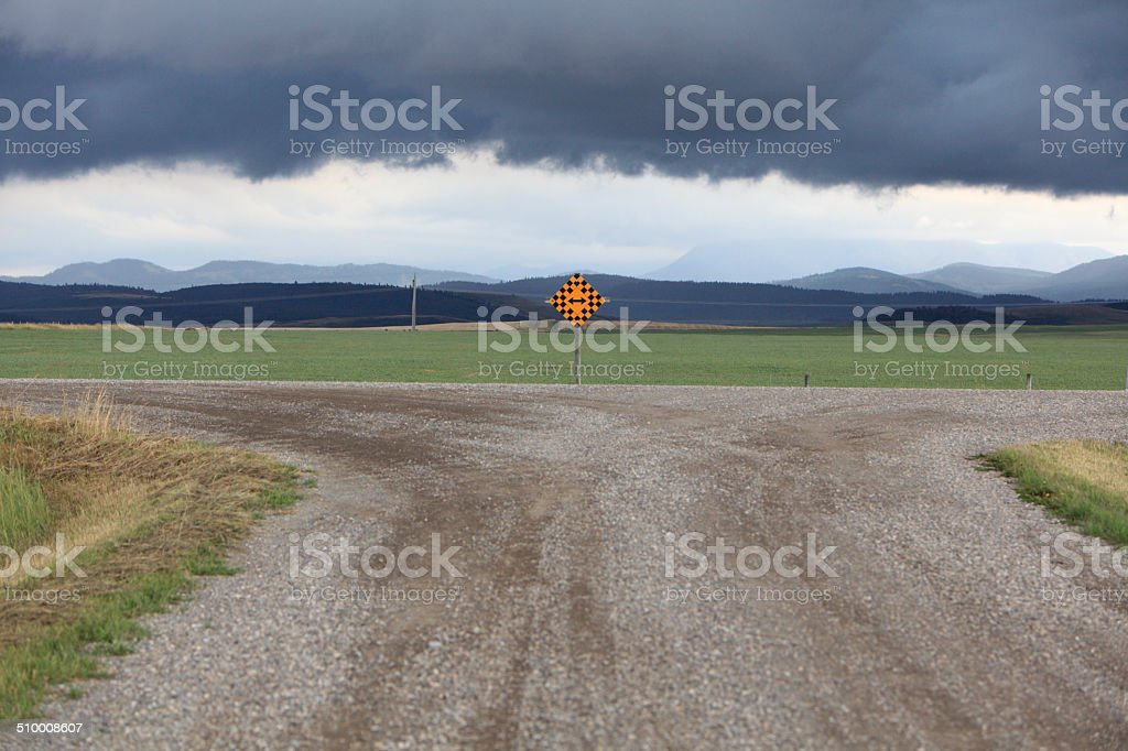 Dramatic Skies And T Intersection In The Country stock photo