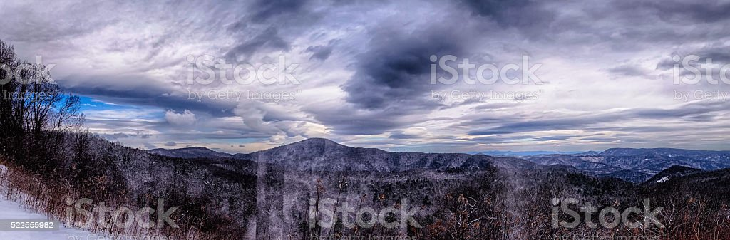 Dramatic Skies Great Smoky Mountains NC at sunset in winter stock photo
