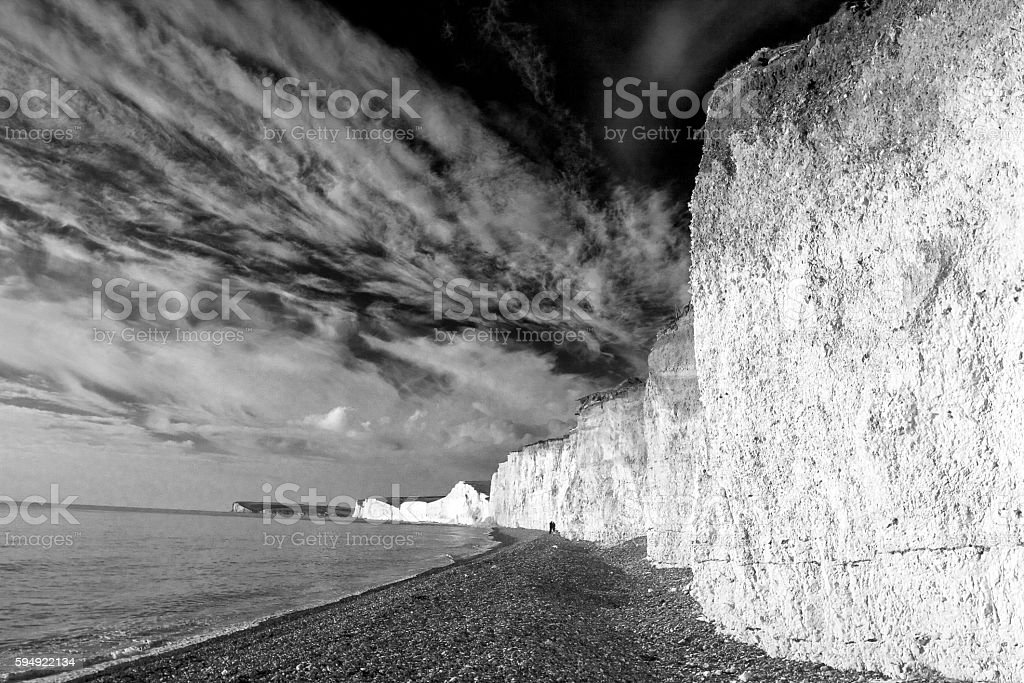 Dramatic sky above the Seven Sisters stock photo