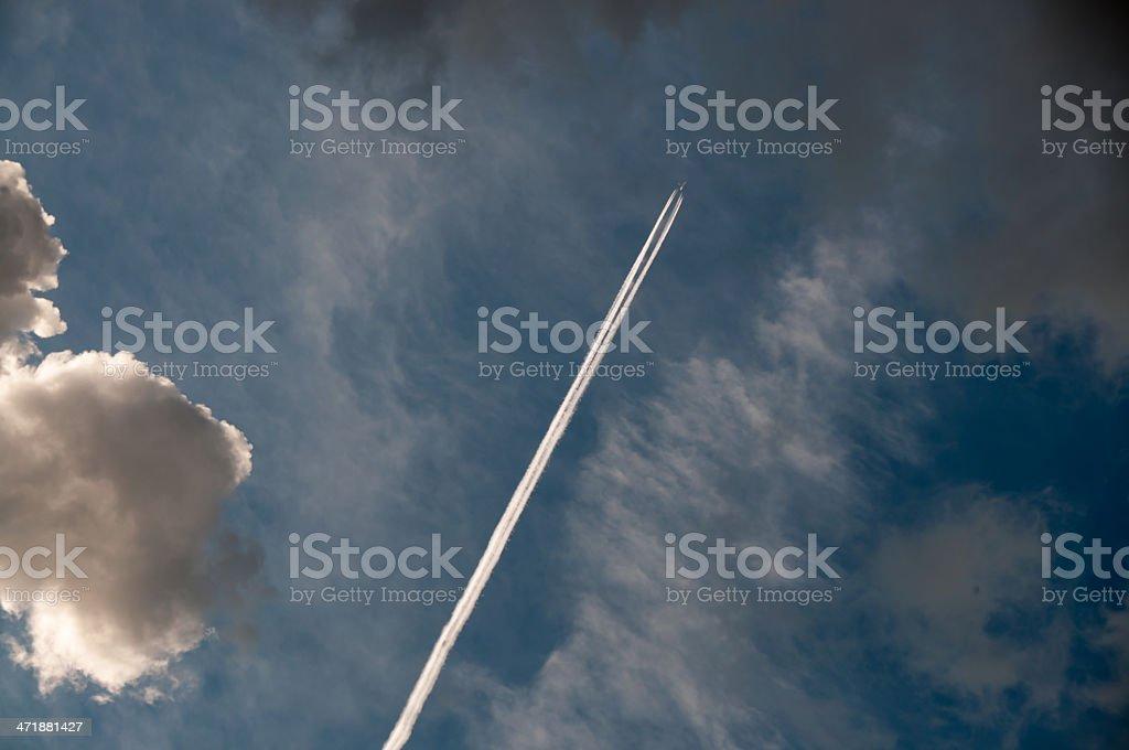 Dramatic Sky and Jet Stream. royalty-free stock photo