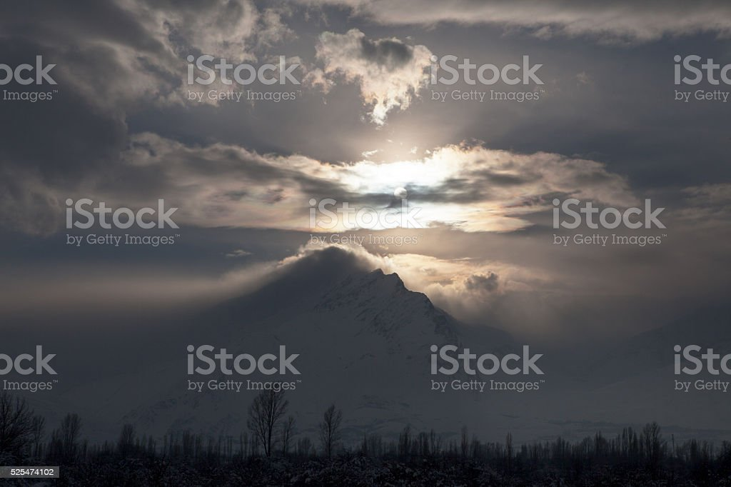 Dramatic Sky and mountain stock photo
