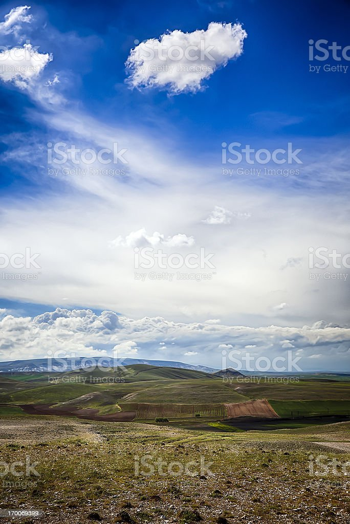 Dramatic Sky - Green Field and unplowed area stock photo