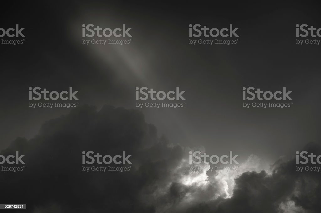 Dramatic sky in black and white stock photo