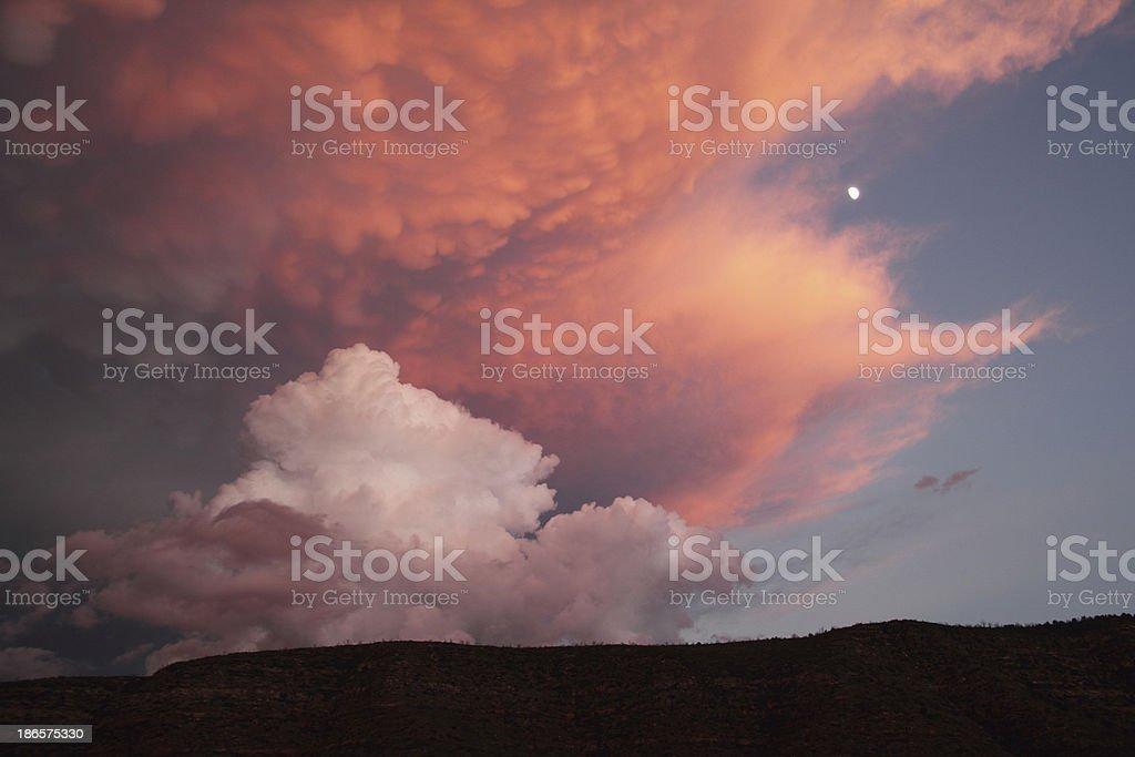 Dramatic  Sky Moon Mesa Sunset royalty-free stock photo
